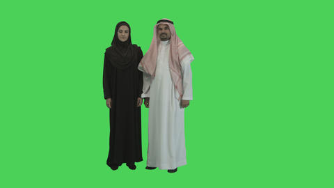 Portait of Arabic Couple in Hijab on green screen Footage