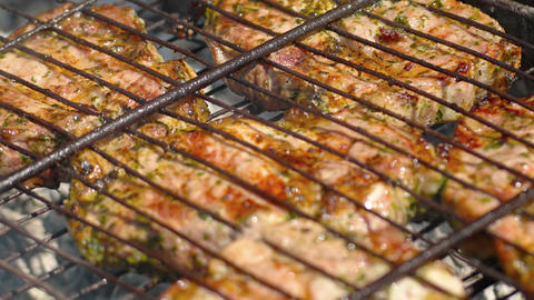 Meat is fried on coals. Close-up with panning Footage