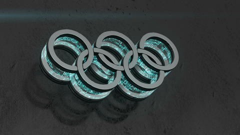 Animation of flow energy from rings logo of Olympic games Footage