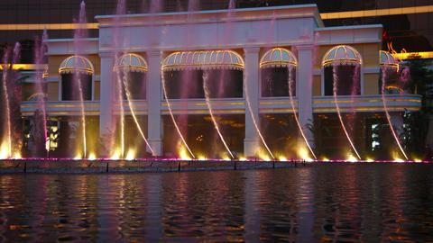 Fountain show in the performance lake of Wynn Macao Footage