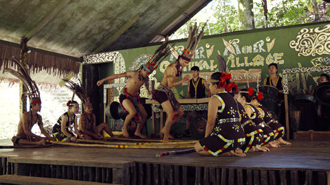 Show of local actors on stage for tourists. Borneo. Malaysia Footage