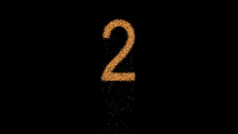 arabic numerals 2 appears from the sand, then crumbles. Alpha channel Animation