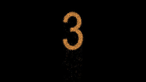 arabic numerals 3 appears from the sand, then crumbles. Alpha channel Animation