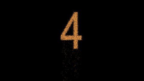 arabic numerals 4 appears from the sand, then crumbles. Alpha channel Animation