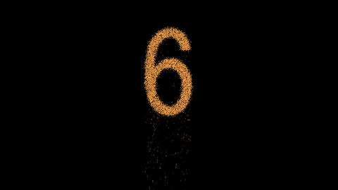 arabic numerals 6 appears from the sand, then crumbles. Alpha channel Animation