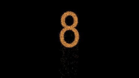 arabic numerals 8 appears from the sand, then crumbles. Alpha channel Animation