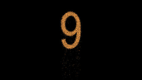 arabic numerals 9 appears from the sand, then crumbles. Alpha channel Animation
