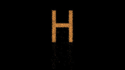 latin letter H appears from the sand, then crumbles. Alpha channel Premultiplied Animation