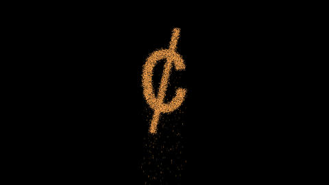 cent sign appears from the sand, then crumbles. Alpha channel Premultiplied - Animation