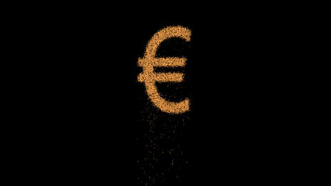Euro Sign appears from the sand, then crumbles. Alpha channel Premultiplied - Animation