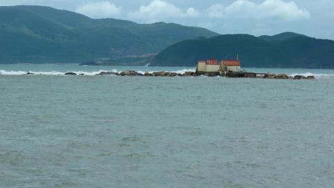 Hon Du island with Buddist temple. Vietnam. near Nha Trang city Footage