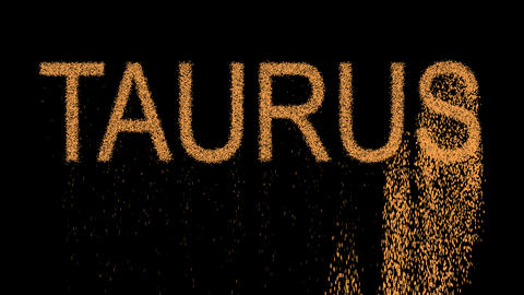 constellation of a TAURUS appears from the sand, then crumbles. Alpha channel Animation