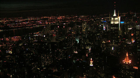 Aerial night view of nyc skyline ad empire state building Live Action