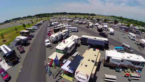 Aerial sweep over rv trailer event Footage