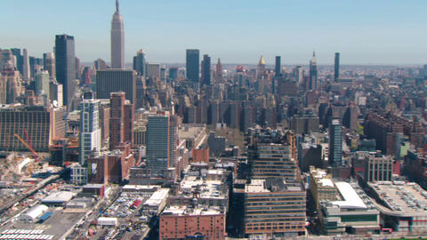 Aerial zoom to empire state building Live Action