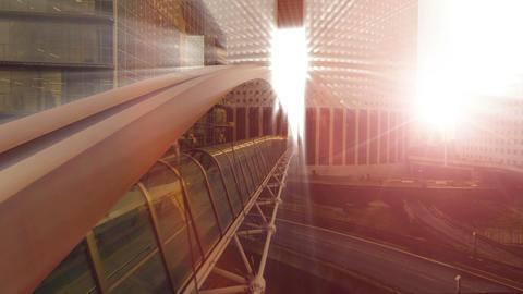 Bridge building sun beam sun rays futuristic architecture light Live Action