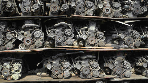Rack with automobile engines. Old parts for sale Footage