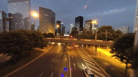 City at night skyline street traffic night lights aerial view landmarks Footage