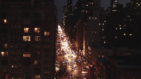 New york at night traffic street aerial view tracking shot Footage
