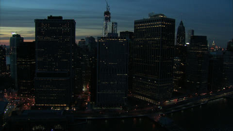 Nighttime manhattan financial district aerial Live Action