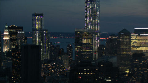 Nyc freedom tower in manhattan aerial Footage
