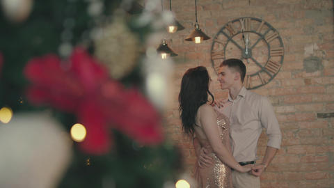 Loving couple is celebrating the new year Footage