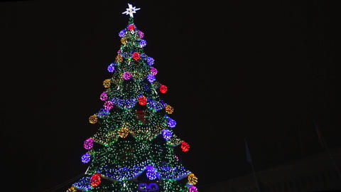 Christmas tree with colorful bokeh and christmas lights. Christmas and New Year Footage