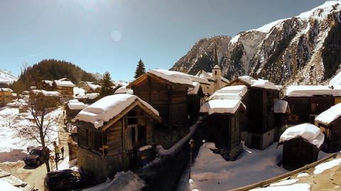 Winter village tourism snow covered houses snow winter landscape aerial view Footage