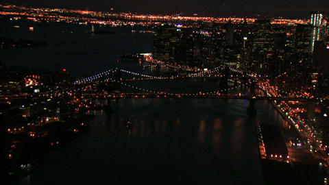 Zooming out night view of bridges Footage