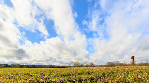 Young grass on a background of clouds in spring. Slider, HDR, Time Lapse Footage
