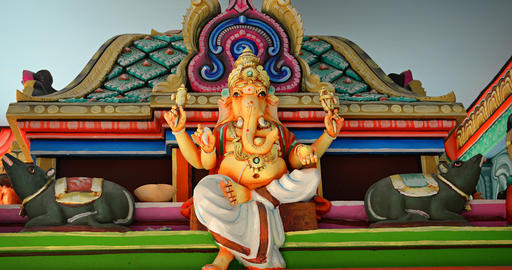 Statue of Ganesha. the elephant headed Hindu deity. inside temple in Langkawi Footage