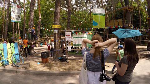 Entertaining rope park at Goloseevo district. Kiev Footage