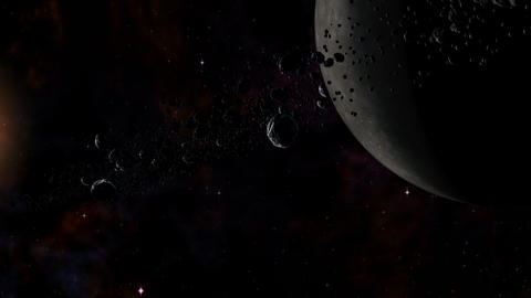 Planet with rocks and ice particles ring system orbiting Red Dwarf Star Animation