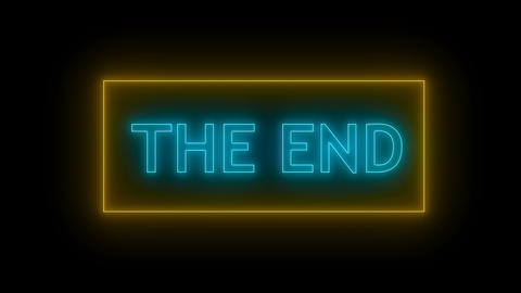 THE END Sign in Neon Style, Live Action