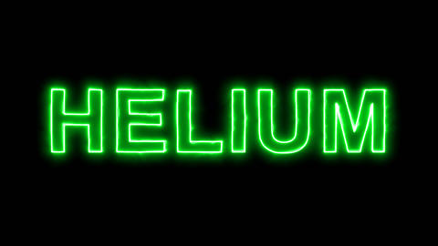 Neon flickering green Element of periodic table HELIUM in the haze. Alpha Animation