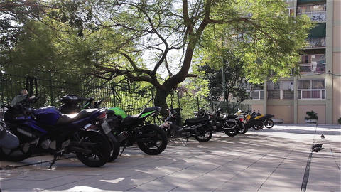Motorcycles parked in the City 영상물
