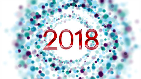 Blue purple particles New Year 2018 video animation 画像