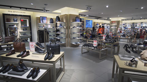 Inside Bata Shoes outlet at Suria KLCC. shopping destination in Kuala Lumpur Footage