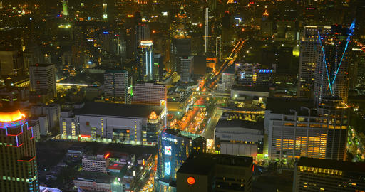 Overlooking View of Bangkok's Colorful Night Time Cityscape in Timelapse Footage