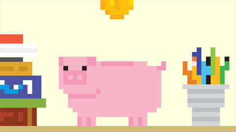 Piggy bank and falling gold coins. Pixel art game style HD finance animation Footage