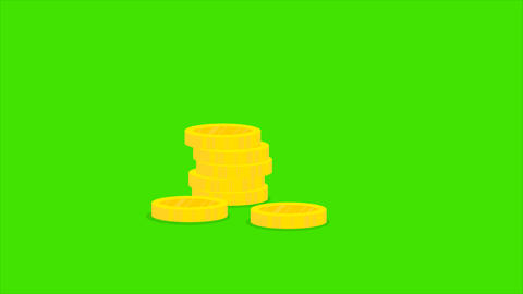 Cartoon golden coins falling in stacks on green background. Business, finance Footage