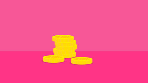 Cartoon golden coins falling in stacks on pink background. Business, finance Footage