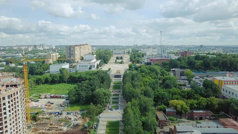 Russia, the City of Izhevsk. View of the central square, From Dron Footage