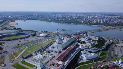 Panoramic view of the Kazan Kremlin. Kazan, Russia, From Dron Footage