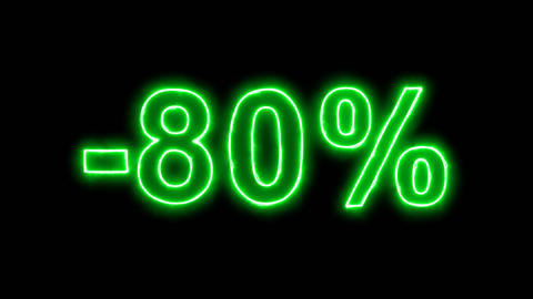 Neon flickering green sale label -80% in the haze. Alpha channel Premultiplied - Animation