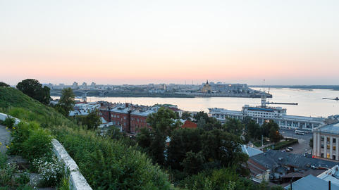 Sunset overlooking the confluence of the rivers Volga and Oka. Nizhny Novgorod, Footage
