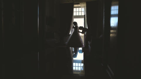 Beautiful bride's morning in the hotel room Stock Video Footage