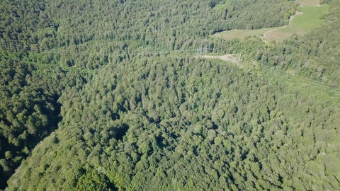 The mountains are covered with a winding road. Sochi, Russia, From Dron Footage