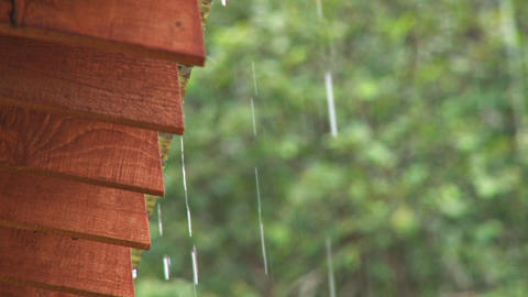 Close up of rain dripping off a roof Live Action