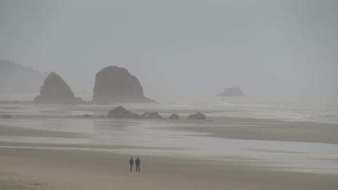Couple walking at cannon beach on foggy morning Footage